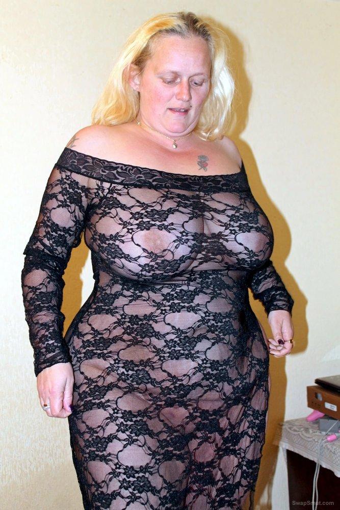 Randy Rachel Blonde BBW in See Through Dress Showing Of Big Juggs