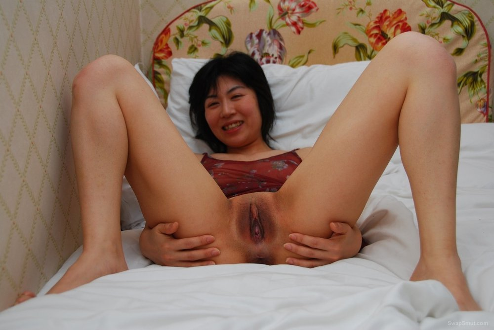 My Japanese slut Kaori spreading labia lips wide apart to see pink