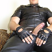 Stud in leather with big hard cock