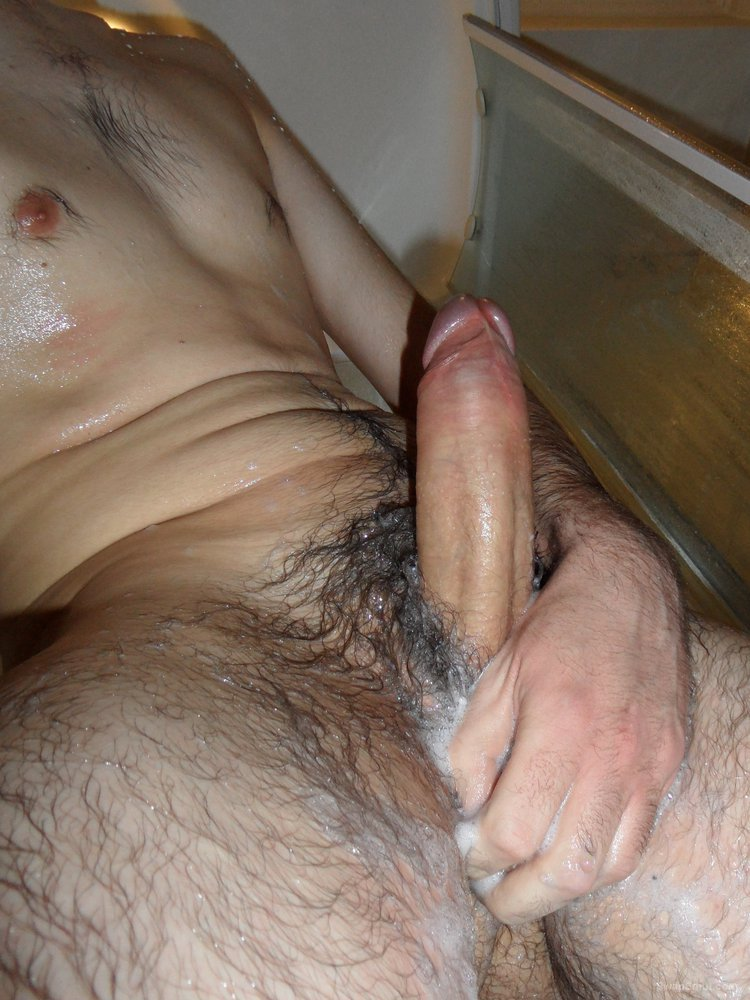 Showing off my hard cock in the shower all wet and soapy