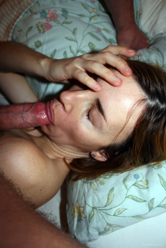 Sucking husband big cock and letting him ejaculate all over me