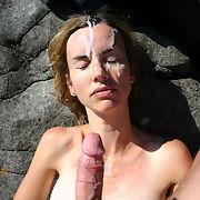 My wife sucking me off and receiving big cum facial