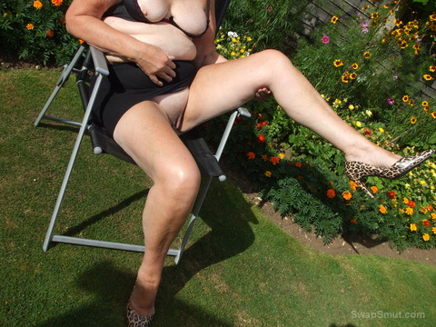 Are my mini skirts too short outdoors in back garden on chair