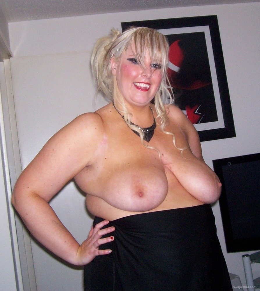 A few pictures of a blond and horny me displaying big tits and cunt
