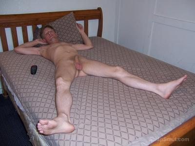 Exhibition of David Steckel naked masturbating on a bed