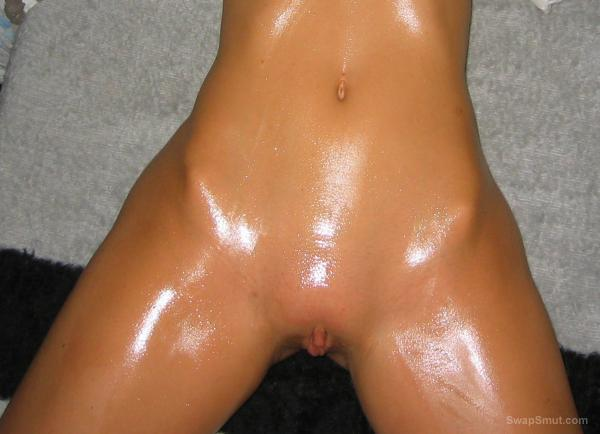 Oiled up body about to get penetrated fingered and brush insertion