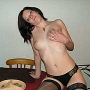 Wife trying on lingerie and seductively removing it all