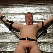 Tied up in garage bondage pics