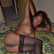 Sexy Babe Danelis naked and in black Lingerie