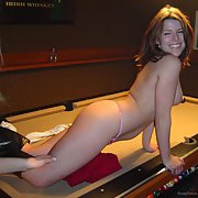 Canadian wild girl poolie gets wild on the bar pool table