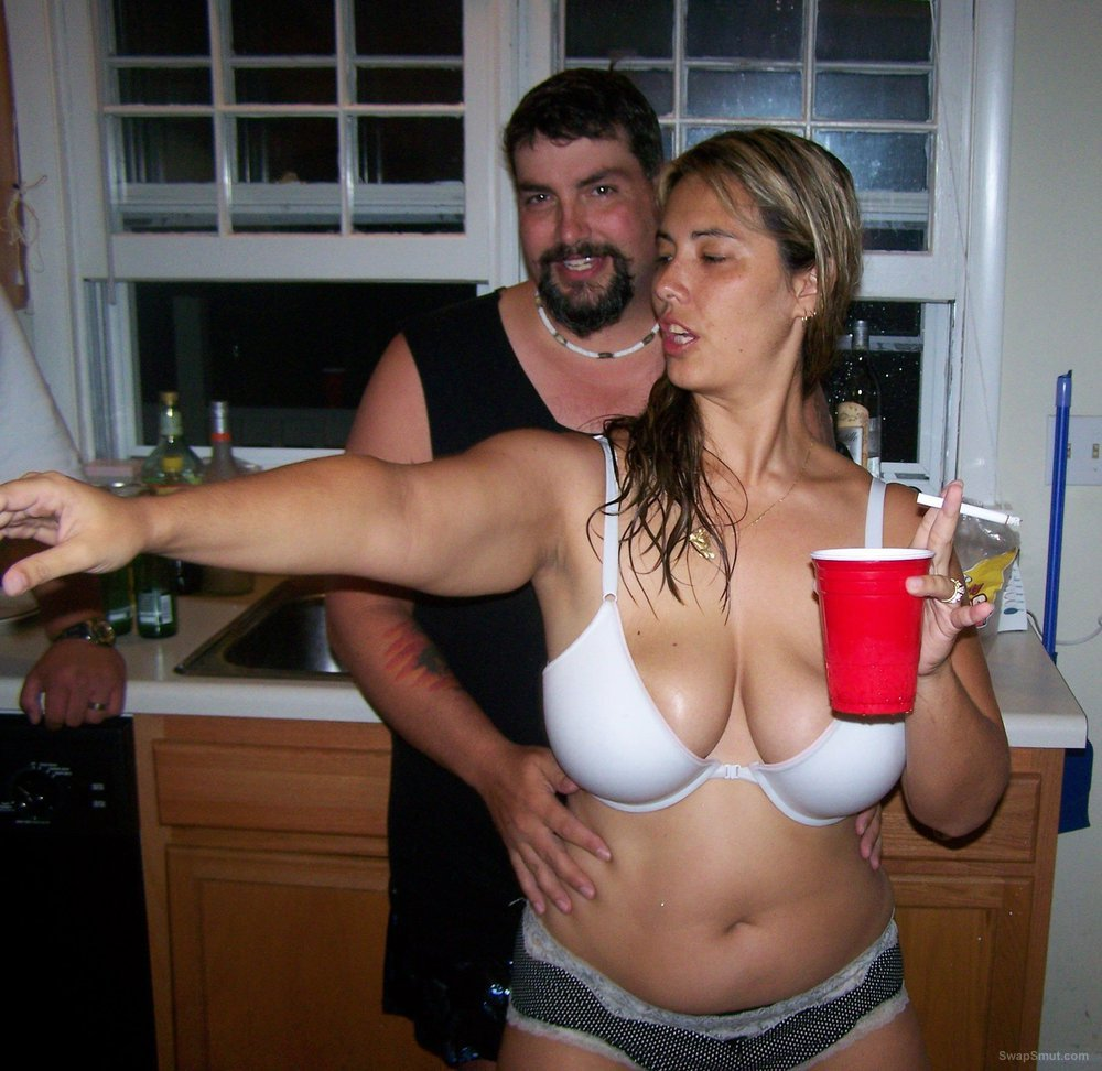 Big tits on this biker slut showing off her sexy body at a party
