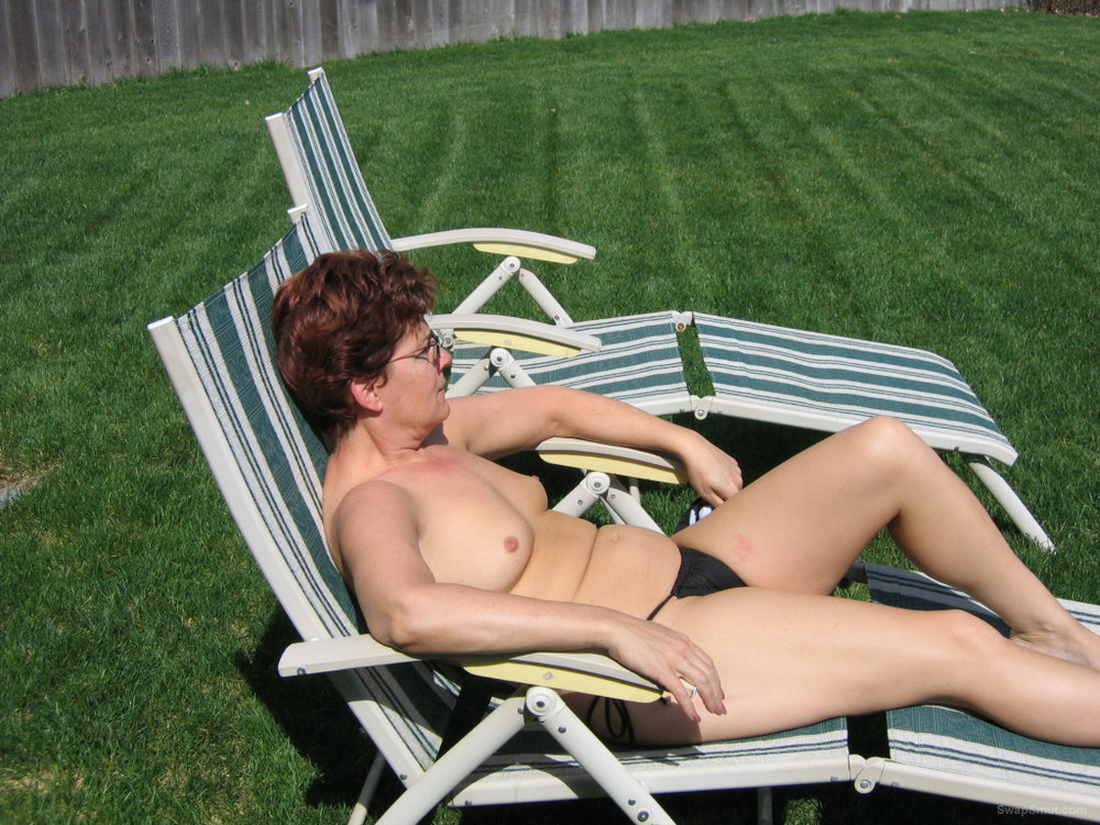 Warm weather backyard bikini photo opportunity outdoors in the sun