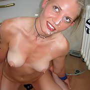Blonde wife with lovely pert tits and nipples receives a facial