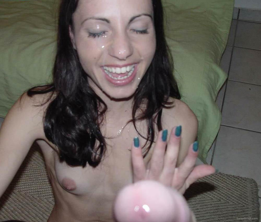 Spunking sperm ejaculate all over my hot girlfriends pretty face