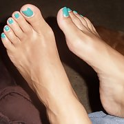Wife's feet look at her painted toenails do you enjoy foot fetish