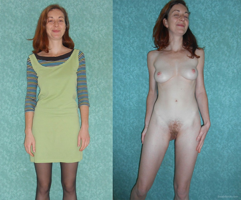 Audrey French Slut Before After dressed undressed