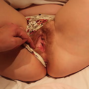 Wife in pink panties moved aside shows hairy pussy that I penetrate