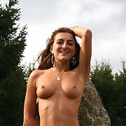 French exhibitionist stripping off nude outdoors