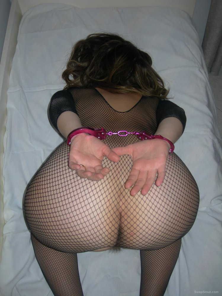 Pictures of me at home with my husband fishnet body stocking handcuffs