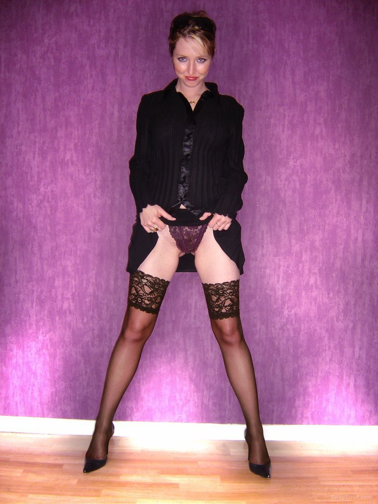 Sexy wife wearing nylon tights touching herself