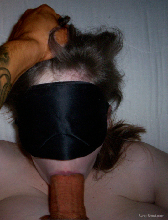 Big tit slut is bound blindfolded and made to suck and fuck