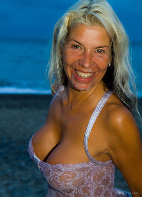 Mature wife bareback groupsex with strangers on the beach