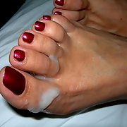 My mature friend sexy toes on display with cum on them