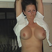 Slut wife in see through fish net top with her shaved pussy