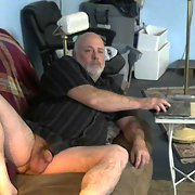 Older man in black showing off his cock for his lady