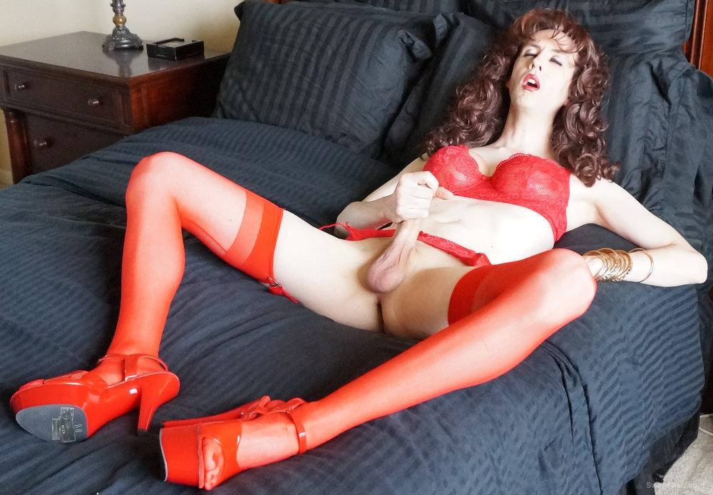 Sissy Erica - tranny slut in red lingerie