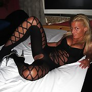 Love bitch wife Ani in black and sperm on body sexy body stocking