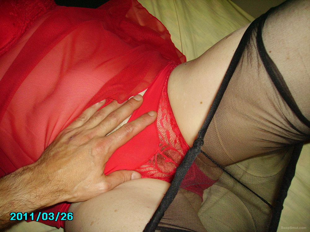 Aussie girl in red lingerie showing off her pussy touched by lover