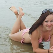 Homemade amateur photos outdoors in swimsuit at the beach