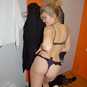 Cute blonde spreads her lovely body and pussy in black stockings