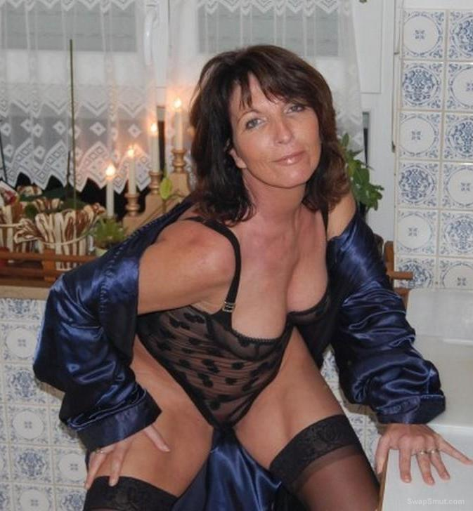 Mature woman wearing sex black underwear