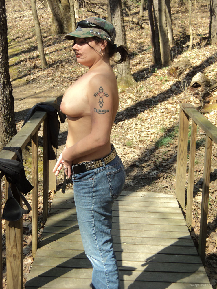 Hike in the park topless and full nude love the fresh air