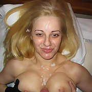 Blonde bitch with cum splattered all over her pretty little face
