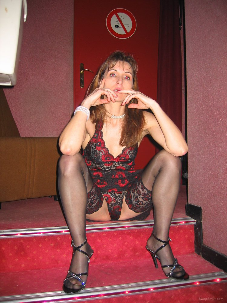 Mature housewife posing in lingerie and later at swinger club