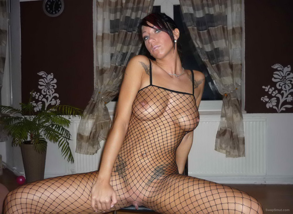 Photos of the wife wearing a fishnet body stocking