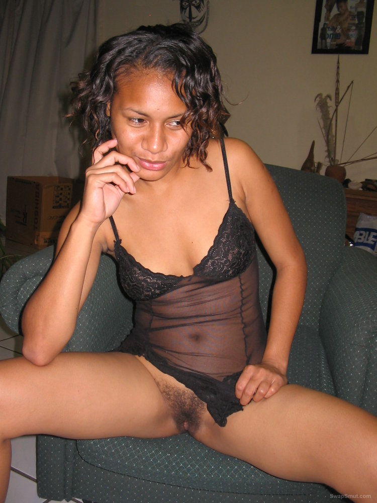 Nice Young black girl from the pacific showing her hairy little pussy