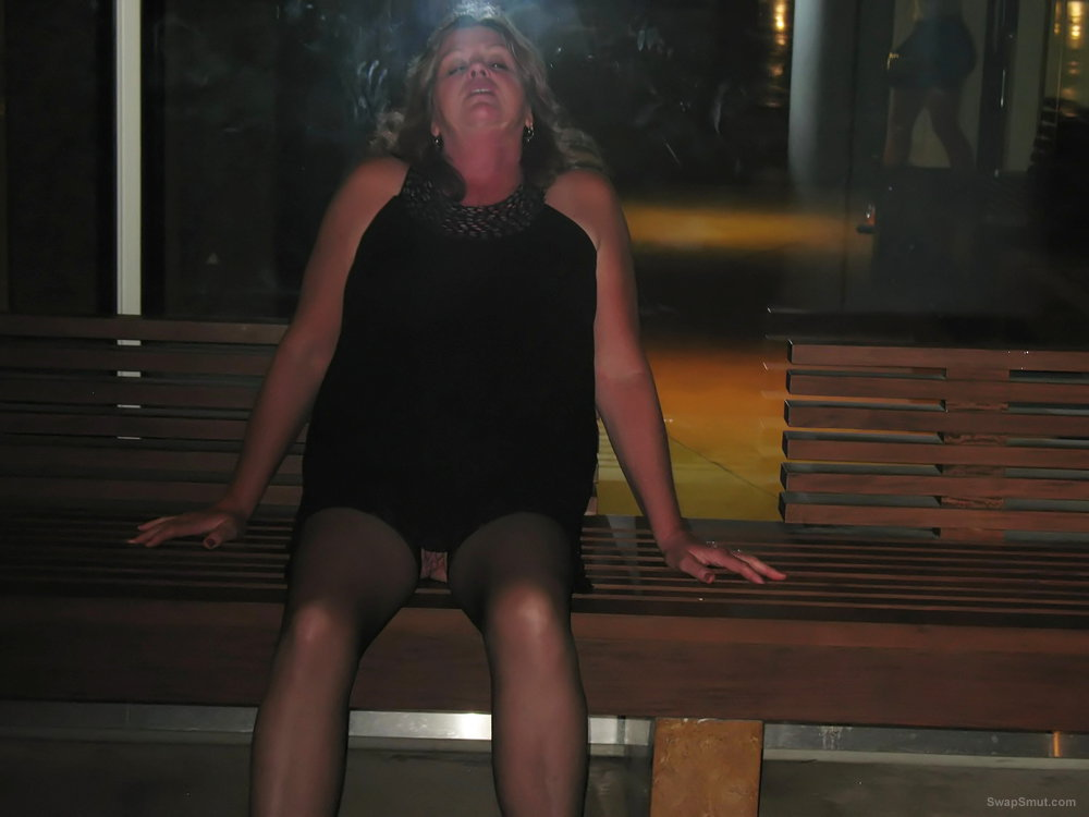Flashing her big pussy all around City Center in Vegas exhibitionism