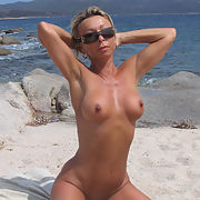 Hot Blonde Milf showing off at the Beach