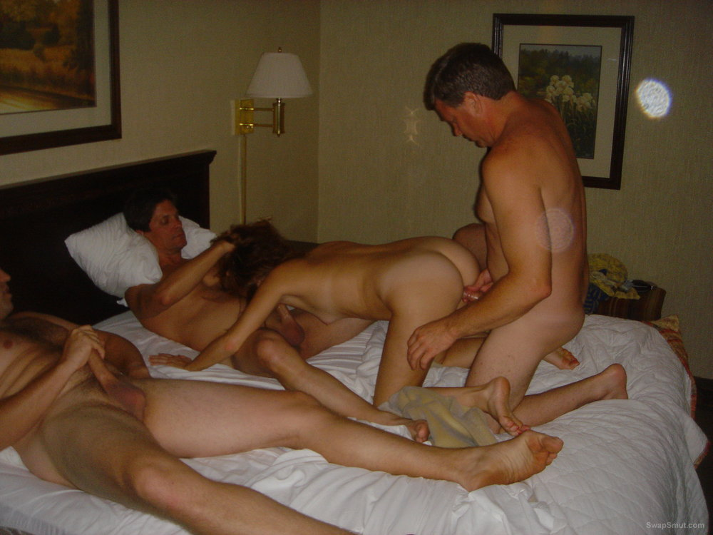 Sexy redhead wife group sex swinger fun with some guys