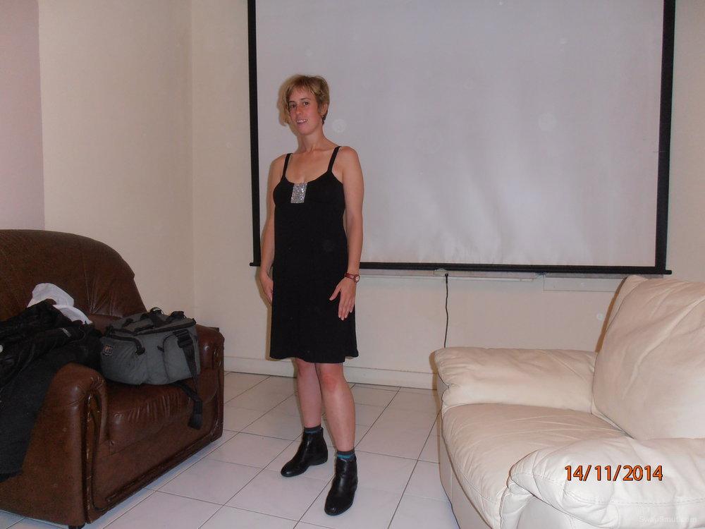 A few of hubby on line friend posing in a black dress