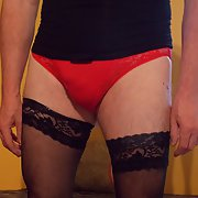 I Wear a woman black body and women red panties