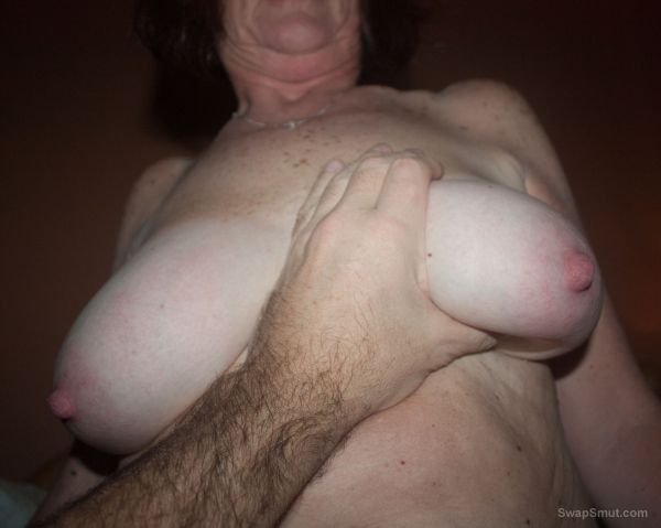 Big mature tits with big nipples out for the camera