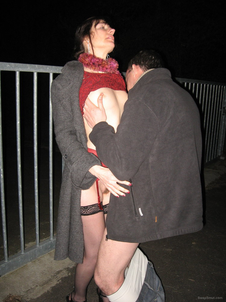 Outdoor dogging taking pictures of my woman fucking a stranger in car park