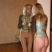 Slim blonde wife posing and anal