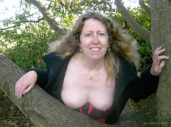 My sexy wife loves posing outside in lingerie showing her sexy tits