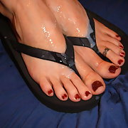sexy girl with cum on her toes